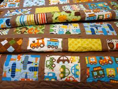 Milk Chocolate Mix Baby Boy Quilt by NowandThenQuilts on Etsy