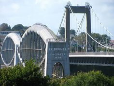 Royal Albert Bridge and Tamar Bridge, across the Tamar linking Devon and Cornwall - turn right off the end of the road bridge and about 4 miles on you drive past my old house