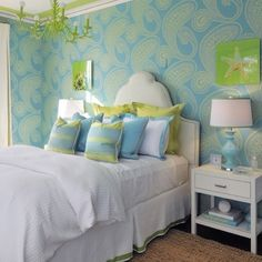 #interior #bedroom #beautiful #white #green #blue #color #bed