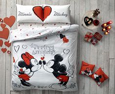 Mickey & Minnie Mouse Bedding Duvet Cover Set 100% Cotton New Licensed / Disney Mickey Mouse Double Size Duvet Cover Set 4 PCS -- Check out the image by visiting the link.