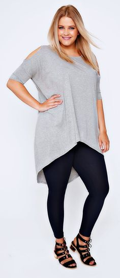 Plus Size Grey Marl Oversized Top With Cold Shoulder