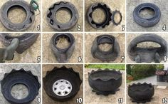 DIY Tire Flower Planters DIY Projects / UsefulDIY.com