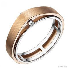 Bague double anneau pour homme - 2 Ors 18cts et diamants 0.025ct