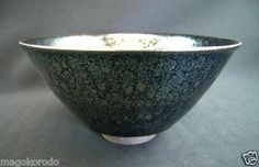c1699,Daisen ware, Toshiyuki Suzuki, Pure steel oilspot glaze Temmoku Teabowl.