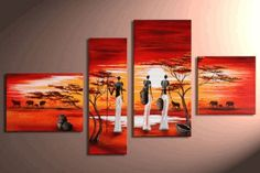 Art Hand Painted Modern Abstract Oil Painting on Canvas Wall Art Deco Home Decoration African Grassland Elephant Sunset 4 Pic/set Stretched Ready to Hang