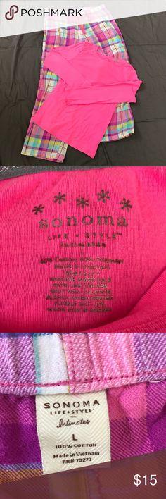 Sonoma Pink Plaid Pajama Set Long Sleeve Hot Pink Pajama top with Matching plaid pj pants. Very comfortable. All items from smoke free home. Sonoma Intimates & Sleepwear Pajamas