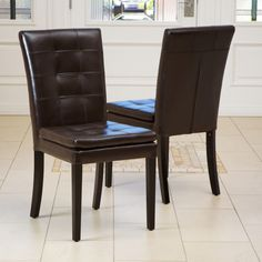 Internal Dining Barrington Brown Leather Dining Chairs (Set of 2)