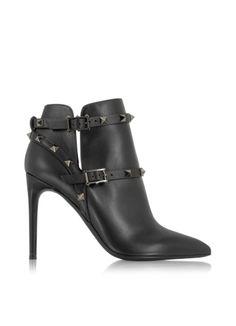 Valentino Garavani Rockstud Noir Leather Ankle Boot