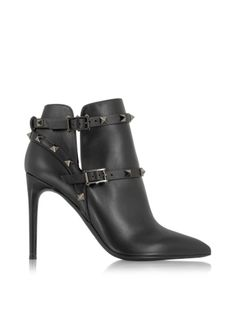 Valentino Rockstud Noir Leather Ankle Boot