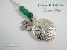 #Jewelry #Necklace #Handcrafted ~ #Essential #Oil  #Aromatherapy Diffuser Filigree Locket with Green Jade Stones ~ #Heart #Chakra ~  & a Shamrock Charm, For ladies who want jewelry that's as fabulous as they are, our jewelry is a fresh alternative to generic, mass made pieces. Visit my shop at www.TouchedByGod.etsy.com!