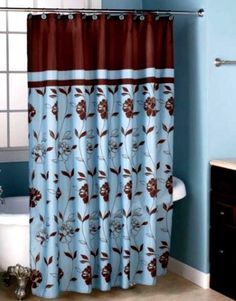 Popular Bath Cabella Blue Fabric Shower Curtain X