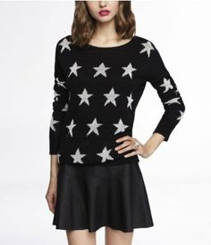 STAR INTARSIA TUNIC SWEATER | from Express.  Got this today!