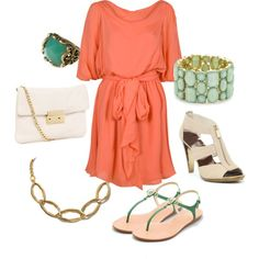 Coral, Green, & Gold