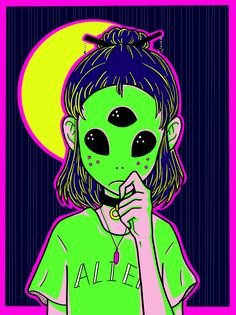 Digital Illustration by ClaireClockwork  Alien
