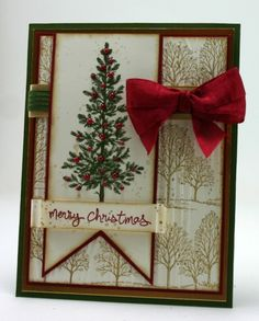 """Lovely As a Tree Christmas Card by Ann Schach, This is from the Stamp Review Crew display board at Convention. Stamp Sets: Lovely As a Tree, Good Greetings; Inks: Baked Brown Sugar, Cherry Cobbler, Mossy Meadow; Tools: Big Shot, Woodgrain Textured Impressions Embossing Folder; Glitz and Glam: Pearls Basic Jewels, Gold 5/8"""" Satin Ribbon, Cherry Cobbler Seam Binding, Mossy Meadow Stitched Satin Ribbon"""
