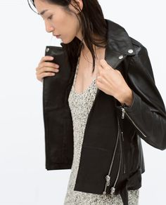 ZIPPED LEATHER BIKER JACKET-Jackets-Jacket-WOMAN | ZARA Croatia