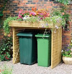 Amazing Shed Plans - Kanny Wheelie Bin Storage with Planter with No Doors x - Now You Can Build ANY Shed In A Weekend Even If You've Zero Woodworking Experience! Start building amazing sheds the easier way with a collection of shed plans! Back Gardens, Small Gardens, Outdoor Gardens, Storage Bins, Garbage Storage, Diy Storage, Bin Storage Ideas Wheelie, Storage Solutions, Garbage Can Shed