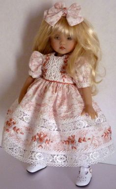 """Fits Dianna Effner Little Darling 13"""" - My Meadow Avery14"""" - Betsy McCall 14"""" - Madame Alexander 13"""" and dolls similar in size and shape. -Embroidered Hair Bow. TR TRIPLE with EMMA. -Embroidered Dress (fastens in the back with snaps).   eBay!"""