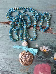 Beachy boho artisan mermaid pendant hand knot aqua blue faceted deep sea tone long necklace by MarleeLovesRoxy