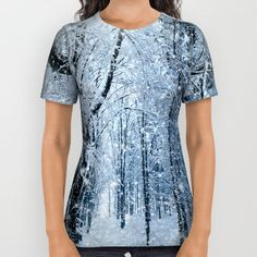 Winter wonderland scenery forest  All Over Print Shirt