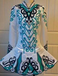 White and Teal Irish dance solo dress