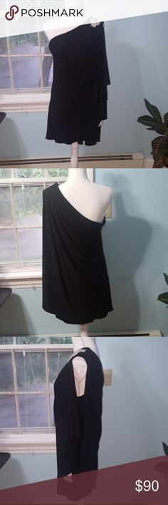 """David's Bridal Black One Shoulder Dress Only tried on. May need to be ironed  Side zipper  31"""" Length  D001 David's Bridal Dresses One Shoulder"""