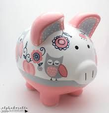 Whimsical Owl Piggy Bank in Coral, Navy and Grey — Alphadorable Pottery Painting, Ceramic Painting, Painted Pottery, Personalized Piggy Bank, Baby Stuffed Animals, Whimsical Owl, The Little Couple, Ceramic Owl, Porcelain Ceramics