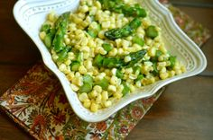 Fresh Corn with Asparagus and Herbs ~ strandedfoodie.com