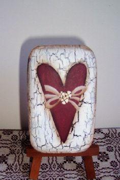 Primitive Valentine Heart Soap-Handpainted