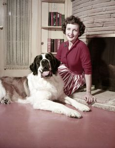 Betty White and her giant St. Bernard 'Stormy' she was featured with in tons of magazines in the 50s - we started to hear about Stormy and her love for animals during her time on TVs Life With Elizabeth that ran from 1952-1955