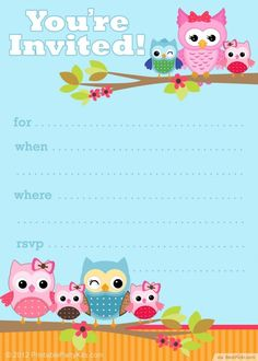 Free Printable Owl Party Invitation Template ❥❥❥ http://bestpickr.com/owl-baby-shower-invitations