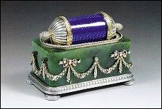 Finger Bath with Hallmarks by Henrik Wigström (1862-1930 [sic]), Died in 1923, Offered at a French Auction. The color combination is not likely to have been used by the Faberge firm.