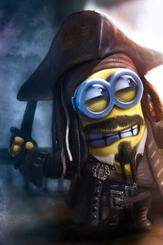 Minion Captain Jack Sparrow Art (Alexander Levett) by . Amor Minions, Cute Minions, Minions Despicable Me, Pirate Minion, Minion Rock, My Minion, Minion Banana, Funny Minion Pictures, Funny Minion Memes
