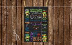Ninja Turtle Birthday Poster, Birthday Stats Board, 1st Birthday Poster, Birthday Chalkboard