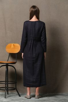 Black Linen Dress Handmade Unique Layered Pleated от YL1dress