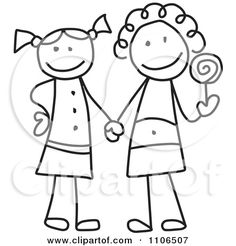 best friend stick figure tattoo | Clipart Black And White Stick Drawing Of Two Best Friend Girls Holding ...