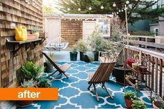 Before and After: A Outdoor San Francisco Space Gets An Overhaul. GloDea's natural lounge chairs and solar powered lights at IKEA