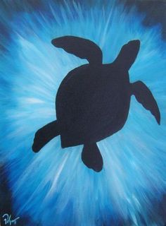 Sea turtle silhouette with blue spray of water. Easy Canvas Painting, Easy Paintings, Diy Painting, Painting & Drawing, Canvas Art, Interior Painting, Bedroom Paintings, Painting Doors, Painting Of Water