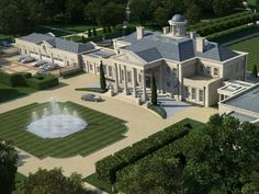 CGI visualisation of the front of Windlesham House in Surrey County near London, England.