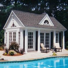 Pool House Ideas pool house- front is sliding glass doors with pergola built off of