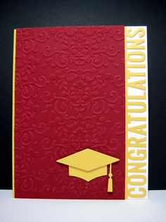 hand crafted graduation card ... school colors ... MFT edge word and mortar board dies ... baroque embossing folder texture ...