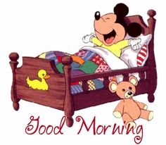 Mickey in bed Mickey Mouse E Amigos, Baby Mickey, Mickey Mouse And Friends, Mickey Minnie Mouse, Good Morning Funny, Good Morning Good Night, Good Morning Wishes, Day For Night, Morning Blessings