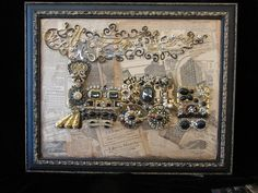 Traveling Train Lots of great detail in blacks and golds. Antique newsprint in wooden frame. 325.00