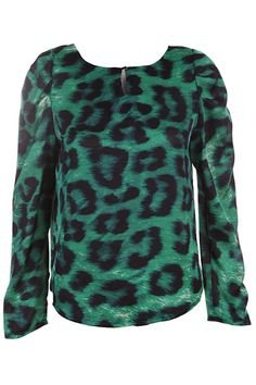 Scoop Neck Leopard Print Green Blouse. Description Blue Shirt, featuring scoop neck, long sleeve styling, leopard print, vent front. Fabric Dacron. Washing Hand wash, separation and light color clothes. #Romwe