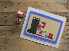 Family of 4 wellies giclee print
