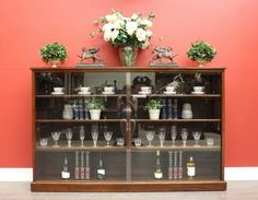 *Because* Antiques & Interiors Antique circa 1950 English Mahogany & Glass Sliding Door Bookcase China Cabinet
