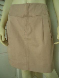 BANANA REPUBLIC Skirt 12 Light Pink Textured Cotton Poiy Stretch Mini Front Zip