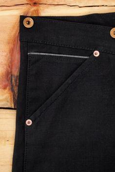 Oldblue Co. Work Pants Type I - Black Selvedge Duck | Coin Pocket Detail.