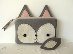 Foxy Little Pouch in Gray by blueberrybandit on Etsy