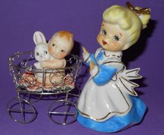 Vintage Upcycled Girl Pushing Baby Holding Bunny in Cart in People | eBay